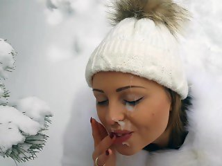 outdoor winter blowjob and cum on her pretty face and mouth