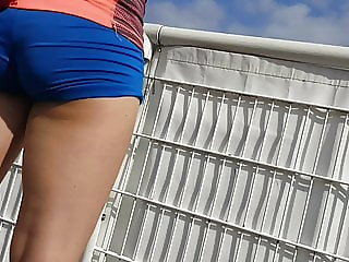 Voyeur sexy teen ass shorts spandex french 3