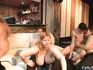Plump group sex party in the bbw bar