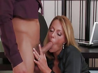 Sexy mature milf fuck in the Office with young boy