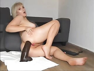 Small Blonde Chick Fondles with White Dick