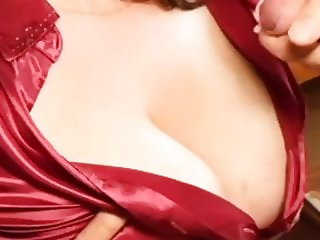 Satin Blouse Cumshot Downblouse