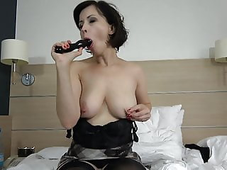 Sexy mother suck and fuck black dildo