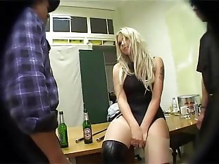 Blonde bitch Mona getting fucked by older men.