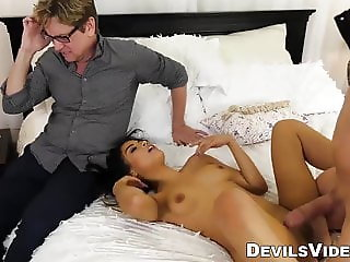 Cuckold hubby watches wife get fucked in front of him