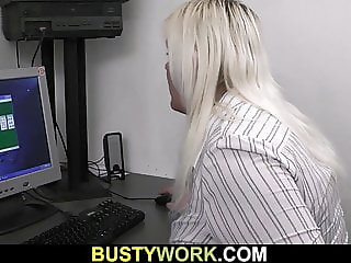 Hot blonde BBW secretary office sex