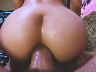 Student loves to cum in her ass, Creampie