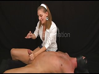 Femdom milking handjob with extreme post orgasm abuse and cb