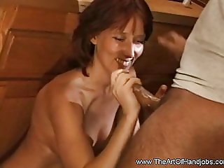 Horny Step Mom Jerking Off Happy Stepson And Cumshot