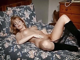 Ginger tease - British beauty in nylons strips & dildo play