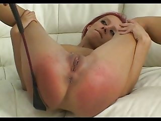 Skinny redhead stripped nude exposing spread spanked hard