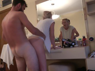 Caught by husband while fucking his wife in hotel room!