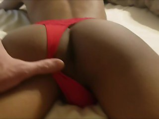 Daddy fucks his tiny Asian twink boy in a girlie red thong