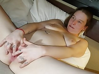 Slut Lindsey plays with creampie