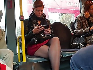 Sexy pantyhose legs on bus