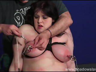 Bbw slave Emmas tit torture and breast caning of fat painslut in rough bdsm