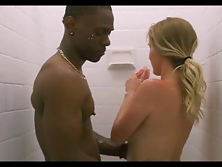 Huge BBC White Blonde Wife Shower Interracial Movie Scene