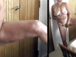 Milf loves to be wanked over and watched