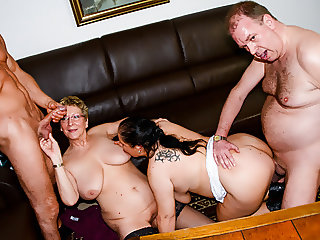 AmateurEuro - Foursome Sex With Hot BBW GILFs (Hanne & Erna)