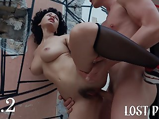 Horny Teen Outdoor Rough Sex and Public Deep Blowjob in Lost
