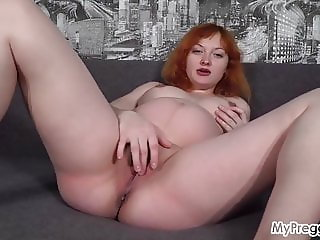 Pregnant Maria Strips Naked and Fingers Her Shaved Pussy!
