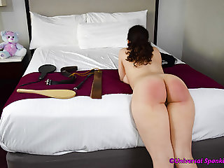 She Waits For the Strap - Spanking