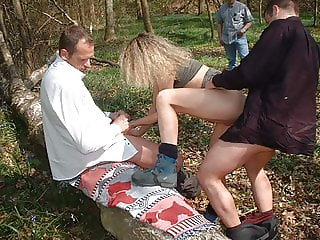 Forest gangbang with voyeurs