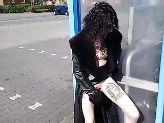 Ugly tattoed woman masturbate in a public place