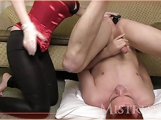 Mistress T pegs guy in his ass, makes him eat his cum