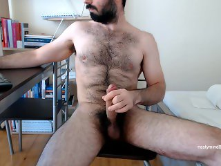 Hairy Greek Bear, stokes and cum