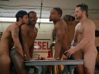 BlackMale Me - interracial cop uniform foursome