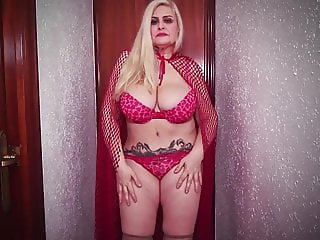 Mature and busty little red riding hood dances for you