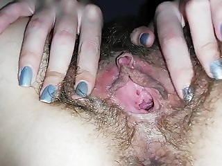 Hairy Pussy Big Clit Rubbing Dripping Wet Masturbation
