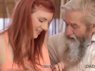 daddy4k. lovely redhead has crazy hot sex with old man while watching tv