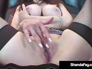 Housewife Shanda Fay Dildo Drills In Rubber Lingerie!