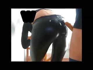 Cum on shiny leggings