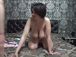 Two Milf with saggy tits licking each other and Anal
