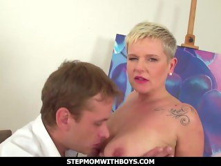 Stepmomwithboys - Euro Busty Blonde Hot Mature Fucks Stressed Stepson