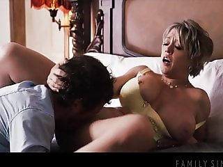 Big titted stepmom fucks nerdy stepson