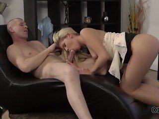 OLD4K. Coquette shows her amazing legs and butt to old horny guy