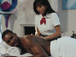 XEmpire - BBC Shows Asian Schoolgirl The Proper Way To Massage