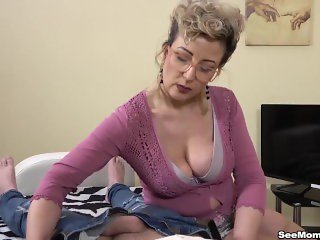 Sexy Euro Step mom Showcases Her Sons Big Dick by Sucking Him Off