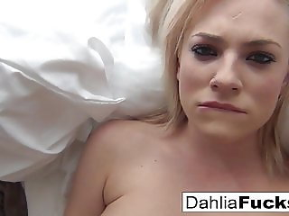 Dahlia Sky walks around a big house alone and makes herself