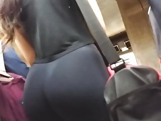 Huge ass in tight leggings spandex going to gym!