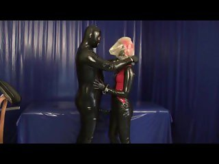 Rubber Slave With Latex Condom Face Breath Play Blowjob Breath Control Game