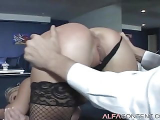 Busty blonde in stockings gets her asshole drilled