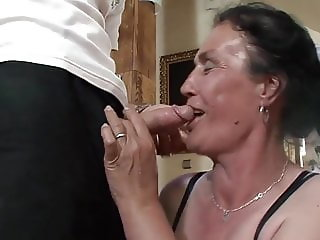 Old granny blowjob, anal and facial