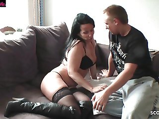 German Mom Seduce Shy Neigbour Boy to Fuck When Husband away