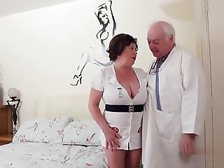 Dirty doctor fucks his BBW naughty nurse mature straight dad