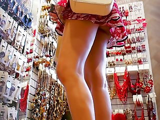 Young Candid Girls In Shopping Upskirts And Short
